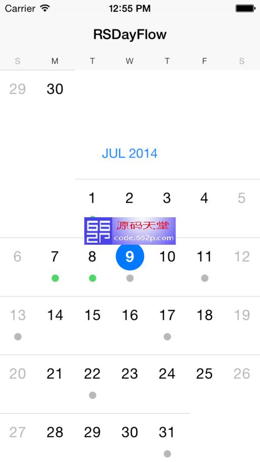 可滚动的 iOS 7 日